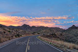 Chisos Mountains, Sunset, clouds, Ross Maxwell Scenic Drive, Big bend national park, Texas landscape, road, Sunset at Ross Maxwell Scenic Drive, Big Bend, scenic drive