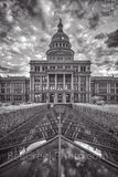 Austin, Texas Capitol, Texas State Capitol, BW, black and white, vertical, tall, Capitol, Capital, texas capital, city, downtown, cities, urban, architecture, architectural, clouds, sky, Greek Renaiss