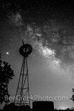 Texas Windmill with Milky Way B W Vertical