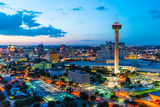 San Antonio skyline, San Antonio, cityscape, twilight, aerial, Tower of America, Tower Life, Frost Bank, building, Drury Hotel, Grand Hyatt, George Gonzales, convention center, historic, landmark