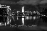 texas, austin texas, downtown austin, ut, night, ut tower, black and white, b w, bw, landmark, campus, downtown austin, austin, water, fountain, reflection, university of texas, campus,, school, citys