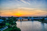 Waco, Brazos River bridge, sunset, aerial, downtown, IH35 stay bridge, colorful led, texas, Jack Kultgen Freeway
