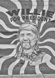 willie for president mural, black and white, bw, b w, monocromatic, austin texas, austin downtown, congress ave, soco, south congress, willie nelson, austin murals, murals, vertical,