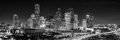 Houston, skyline, Houston skyline, black and white, BW, night, aerial, panorama, pano, city of houston, downtown houston, skyscrapers, buildings, high rise, IH45, museum district, art, culture, music,