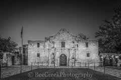 Alamo, San Antonio, Santa Anna, black and white, city, cityscape, cityscapes, downtown, dusk, historic, history, landmark, mexico, mission, missions, tourist, twilight