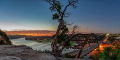Austin 360 Bridge, sunrise, glow, pano, panorama, Pennybacker Bridge, toursit, cliffs, Lake Austin, austin skyline.downtown, city, pics of texas,
