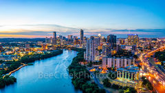 Austin Aerial Skyline Twilight View, Austin skyline, aerial, drone, Austin, night, twilight, dark, Lady Bird Lake, high rise buildings, architecture, boardwalk lights, shoreline, lake, IH35, UT, Erwin