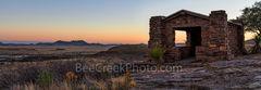 Davis Mountain Overlook, panorama, pano, sunset, colors, rock building, Texas landscape, mountain, Davis Mountain State Park, dusk, violet colors, orange, pinks, west texas, texan, usa, American lands