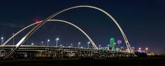Dallas, skyline, cityscape, Margaret McDermott Bridge, night, downtown, dark, steel bridge, suspended, two arches, Trinity River, I30, Trinity project, Santiago Calatrava, pedestrian, bike path, park,