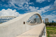 Fort Worth, Fort Worth's Seventh Street Bridge, Fort Worth's cityscape, Trinity river, architecture, skyline, walkway, Texas,