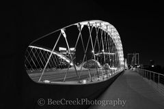 Fort Worth Bridge, Fort Worth Seventh Street Bridge, Fort Worth cityscape, Fort Worth night skyline, black and white photo, ft worth pictures, images of Fort Worth, images of ft worth, photos of fort