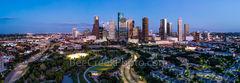 Houston, Skyline, Aerial, pano, panorama, buffalo bayou, Eleanor Tinsley Park, Memorial Park, Allen Parkway, downtown, hike and bike, Jamail Skate Park, cityscape, southern US,