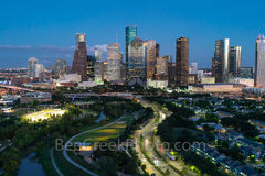 Houston, skyline, twilight, blue-hour, cityscape, downtown, Buffalo Bayou, Eleanor Tinsley Park, Jamail Skate Park, hike and bike trail, Astros, business, skyscrapers, tech, banking, universities, Ric