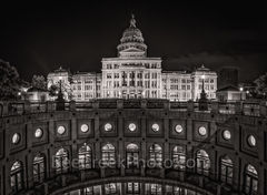 Austin, Texas Capitol, night, black and white, bw, vertical panorama, pano, downtown, city, State Capitol building, Texas State Capitol, state Capital, Capitol of Texas, panorama, pano, vertcal, touri