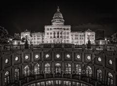 Texas Capitol Rotundra Night BW Pano