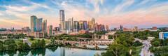Austin skyline, aerial, drone, sunset, pics of texas, pics of austin, lamar bridge, first st. bridge, lady bird lake, clouds, pink, orange, sky, clouds, hike and bike trail, colorado river, architectu