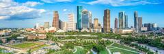 Houston skyline, aerial, skyline, cityscape, pano,  houston, H-town, cityscapes, city, park,  downtown, skyscrapers, bayou, green, Eleanor tinsley Park, Jamail Skate Park, drone, landscape, photograph