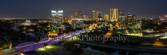 Fort Worth, Ft Worth, skyline, skylines, cityscape, cityscapes, downtown, night, seventh street bridge, 7th street, Trinity river, panorama, pano, Tarrant county, DFW Metro,