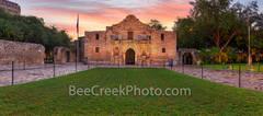 Texas Alamo, San Antonio, Alamo sunrise pano, historic, history, landmark, pano, panorama, downtown, city, mission, sunrise, dusk, twilight, sunset, Santa Anna, mexico, tourist, travel, historic landm