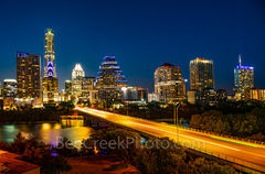 Austin, Downtown, Skyline, skyline, cityscape, congress, ave, Austonian, Frost, Fairmont, night, dark, street, Ann Richards Congress Ave, bat bridge,