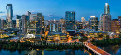 Aerial, Austin Skyline, dusk, twilight, Austin, skyline, austin skyline pictures, aerial, blue hour, lady bird lake, hike and bike trail, cityscape, water, pano, panorama, tallest building, Independen