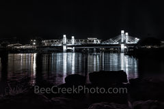 Waco, Brazos River bridge, night, downtown, IH35 stay bridge, lights, texas, Jack Kultgen Freeway, black and white, BW, McLain Stadium, Baylor Univeristy, reflected, reflection, buzzard Billys,