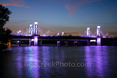 Waco, Brazos River, bridge, dusk, sunset, downtown, IH35 stay bridge, colorful led, texas, purple, Jack Kultgen Freeway,