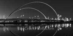 Dallas McDermontt bridge Reflection, Dallas, skyline, cityscape, Margaret McDermott Bridge, downtown dallas, twilight, dallas downtown, two arches, Trinity River, I30, Trinity project, Santiago Calatr