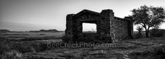 Davis Mountain Overlook, panorama, pano, rock building, Texas landscape, mountain, Davis Mountain State Park, black and white, bw, Fort Davis, Texas,