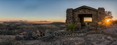 Davis Mountain Overlook, sunset, panorama, pano, sunset, colors, rock pano, panorma, pamoramic, building, Texas landscape, mountain, Davis Mountain State Park, Fort Davis, west texas, Texan, USA, Unit