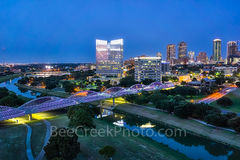 Fort Worth Skyline, twilight, blue hour, Fort Worth, Ft Worth, skyline, skylines, cityscape, cityscapes, downtown, seventh street bridge, 7th street, Trinity river, panorama, pano, Tarrant county,  DF