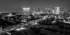 Fort Worth, Ft Worth, black and white, BW, skyline, skylines, cityscape, cityscapes, downtown, twillight, seventh street bridge, 7th street, Trinity river, panorama, pano, Tarrant county, DFW Metro,