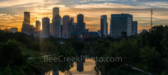Houston skyline, sunrise, Buffalo Bayou,  golden, glow, pano, panorama, cityscape, city, downtown, sun rays, high rise buildings, parks, morning,  gulf of mexico,
