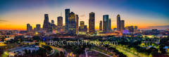 Houston skyline, glow,  sunrise, aerial, pano, panorama, Buffalo Bayou, skylines, Houston cityscape, cityscapes, downtown, reflections, pinks, oranges, sky, morning, city views, city, cities, high ris