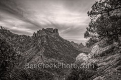 big bend national park, lost mine trail, sunset, black and white, b w, mountains, scenic, vista, skys, travel, leisure, vacation, tourism, lifestyle, texas, big bend, texas mountains, desert, west tex