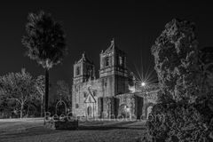 concepción, mission concepción, san antonio, night,black and whtie, bw,  spanish missions, indians, landmark, historic, downtown, skies, texians, mexicans, texas missions, national historic landmarks,