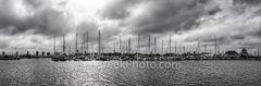 rockport marina b w, panorama, pano, black and white, rockport, texas, coast, coastal, hurrican harvey, fish, boats, clouds, sun, filter, sailboats, sailboat mast, mast, fishing boats, seascape, seasc