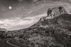 moon rise,  casa grande, black and white, b w,  big bend, sunset, golden glow, moon, moon rise, texas landscape, window, chisos basin, trails, big bend national park, pre-sunset, pictures of texas, ph