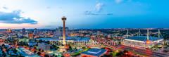 San Antonio Skyline at Twilight, San Antonio, skyline, dusk, twilight, aerial, Tower of America, Tower Life, Alamodome, building, Drury Hotel, Grand Hyatt, George B. Gonzales, convention center, histo
