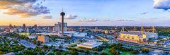 San Antonio, skyline, cityscape, dusk, aerial, Tower of America, Tower Life, building, Drury, Grand Hyatt, Frost Bank, Henry B Gonzales, convention center, historic site, city, landmark, pano, panoram