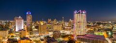 San Antonio Skyline, Night, Panorama, pano, Frost Tower, Marriott, Grand Hyatt, Tower of the Americas, hemisphere, drury hotel, downtown, San Antonio, texas, , Frost Tower, Frost, building, cityscape,