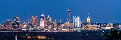 San Antonio Skyline, twilight, san antonio skyline pictures, san antonio skyline photos, images of san antonio skyline, pano, panorama, panoramic, San Antonio, Skyline, Frost Tower, Tower of America,