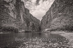 Santa Elena Canyon, Big bend national park, texas landscape, river rocks,  blue sky, nice clouds, canyons, mountains, Mexico, black and white, BW,