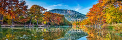 frio river, autumn, bald cypress, texas hill country, fall, old baldy, river, water, reflections, yellow, golden, red, orange, rusty, fall landscape, cypress, hill country, pano, panorama, fall scener