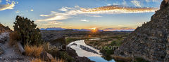 Santa Elena Canyon, sunrise, rays, pano, panorama, panoramic,  Big Bend National Park,  Santa Elena Canyon, bordered, Rio Grande river, down stream, gulf, texas landscape, big bend,  Chihuahuan Desert