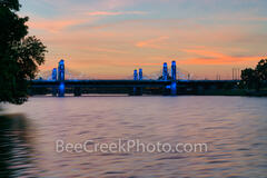 Waco, Brazos River. bridge, sunset, downtown, IH35, stay bridge, colorful led, texas, landscape, america, texas river, scenic, scenic landscape, Texas landscape,