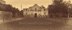 Alamo Vintage, panorama, pano, Alamo, San Antonio, sepia, historic, landmark, mission, fortress, San Antonio Missions National Historical Park, World Heritage Site, texas, travel, Santa Anna, army, ag