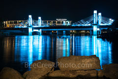 Waco, Brazos River bridge, night, downtown, IH35 stay bridge, colorful led, blue, texas, Jack Kultgen Freeway,