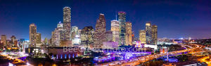 aerial houston skyline night, Houston skyline, aerial, night, IH45, downtown, city, Aquarium, ferris wheel, city hall, rainbow, colors, colorful, modern, high rise, southern US, Texas, culture, parks,