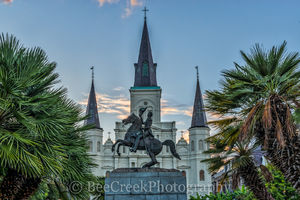 Cathedral, Jackson Square, New Orleans, Saint Louis, blue sky, cityscape, cityscapes, historic, landmark, landscape, landscapes, mississippi, morning, New Orleans cityscapes,